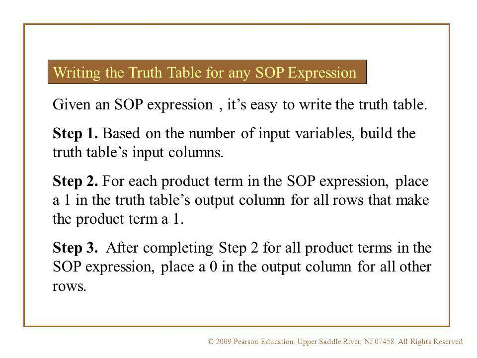 Writing the Truth Table for any SOP Expression