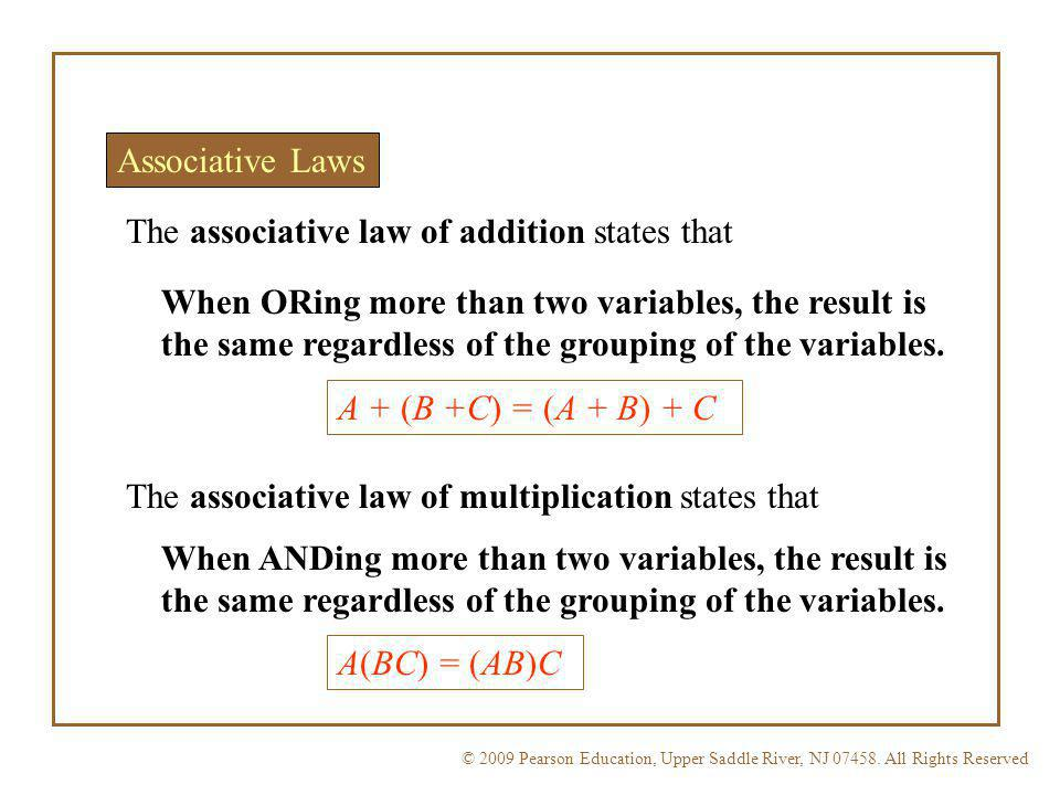 The associative law of addition states that