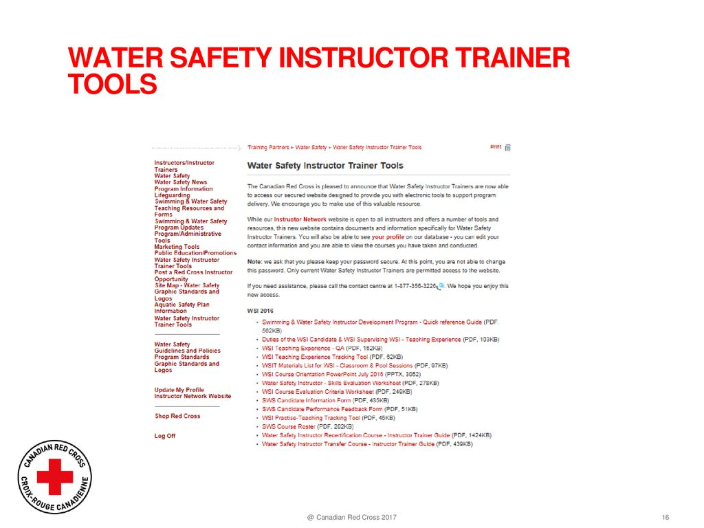 8c8932ab3fc Canadian Red Cross 2017. WATER SAFETY INSTRUCTOR TRAINER TOOLS