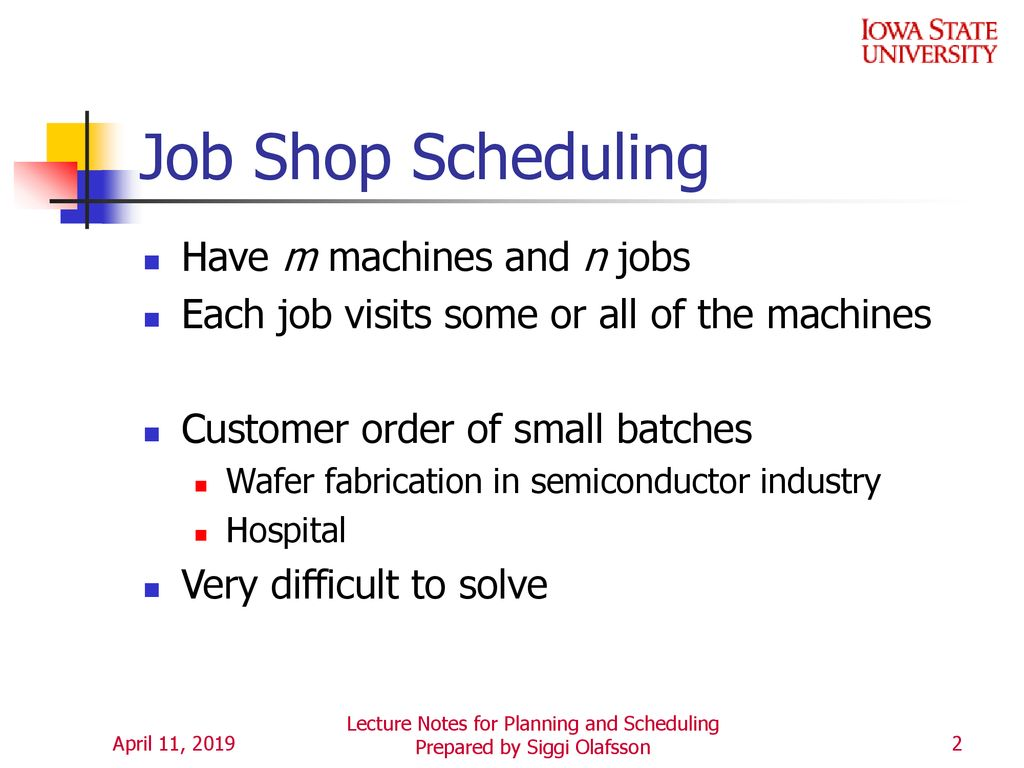 Topic 15 Job Shop Scheduling  - ppt download