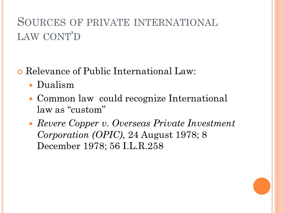 Sources of private international law cont'd