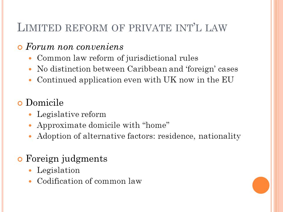 Limited reform of private int'l law