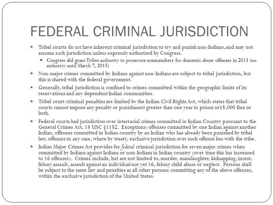 FEDERAL CRIMINAL JURISDICTION