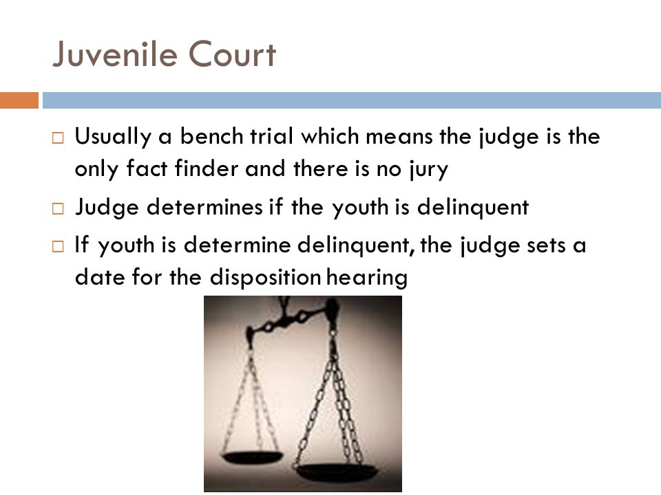 Juvenile Court Usually a bench trial which means the judge is the only fact finder and there is no jury.