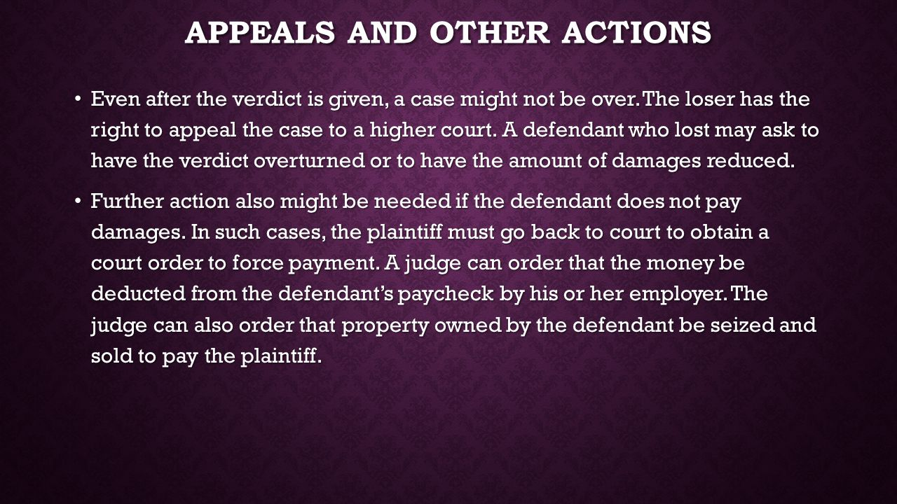 Appeals and other actions