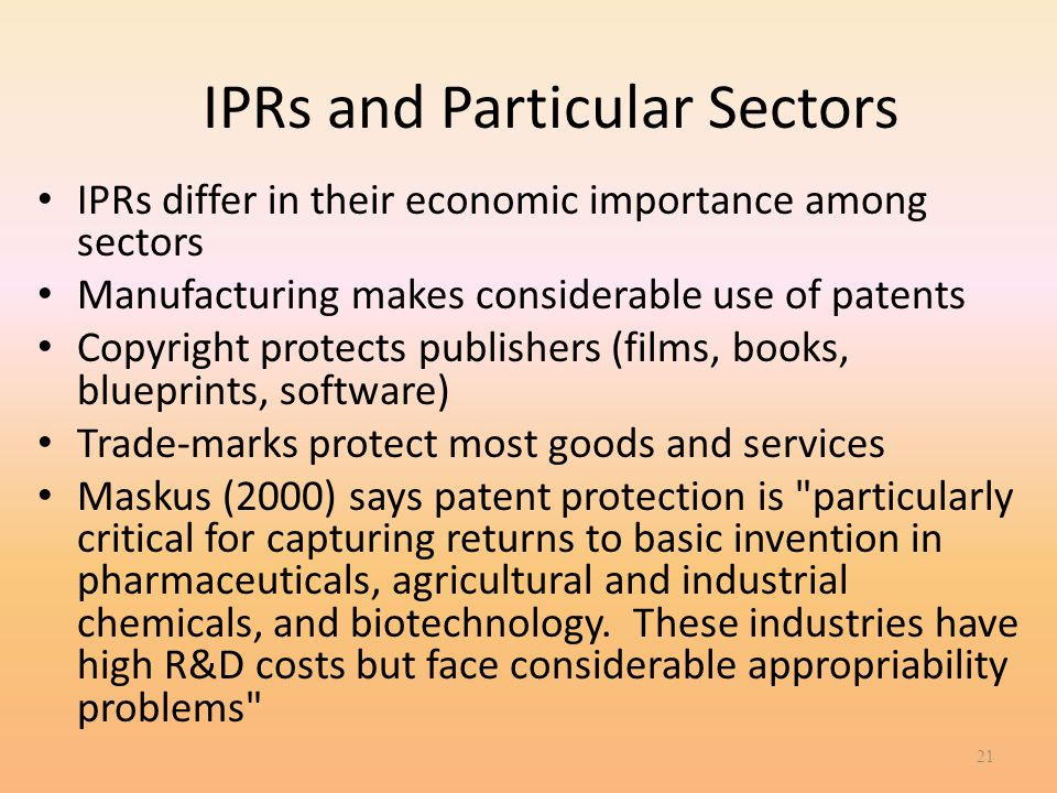 IPRs and Particular Sectors