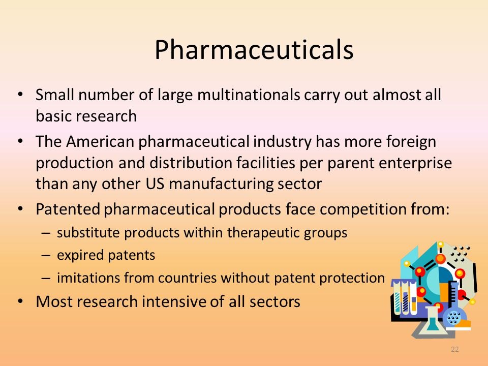 4/1/2017 Pharmaceuticals. Small number of large multinationals carry out almost all basic research.