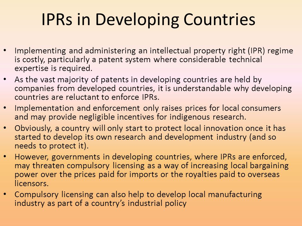 IPRs in Developing Countries