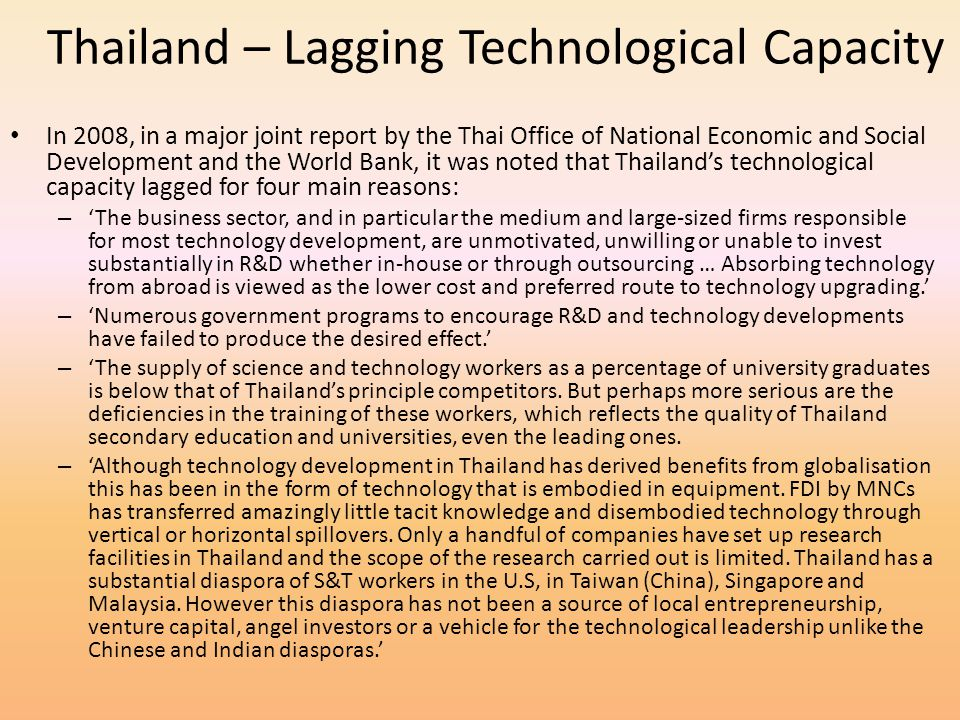 Thailand – Lagging Technological Capacity