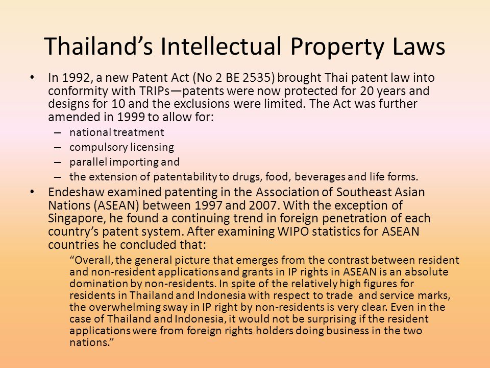 Thailand's Intellectual Property Laws