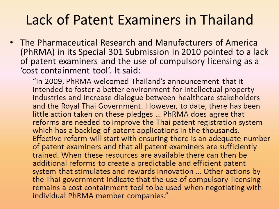 Lack of Patent Examiners in Thailand