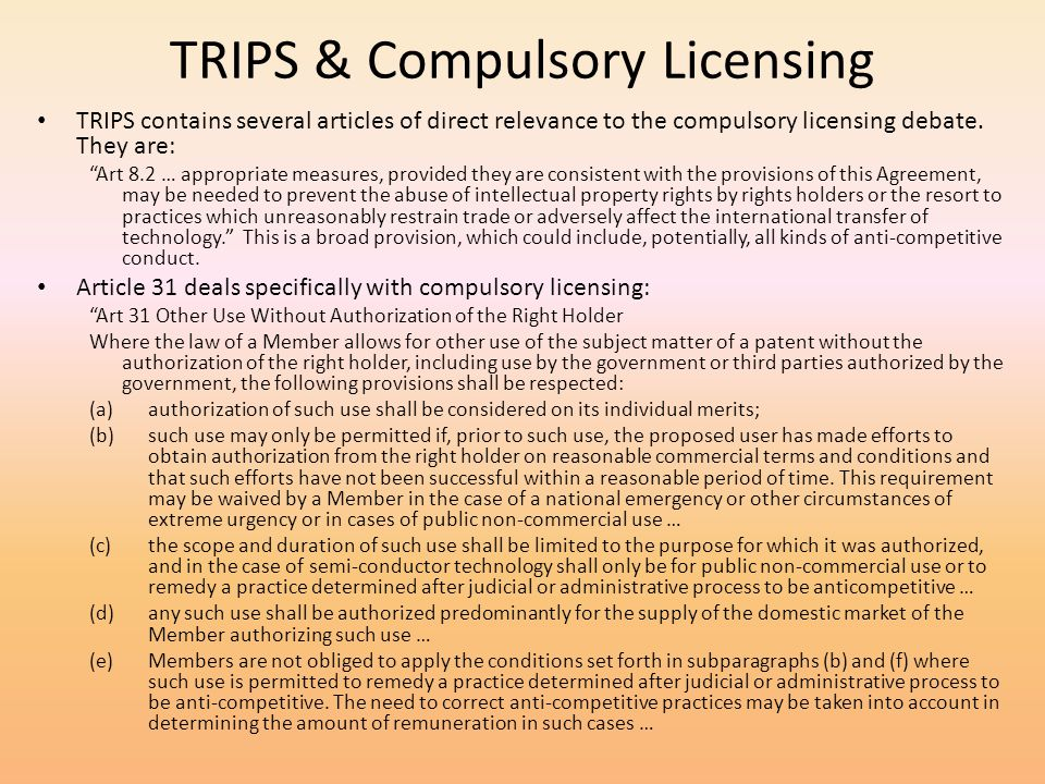 TRIPS & Compulsory Licensing