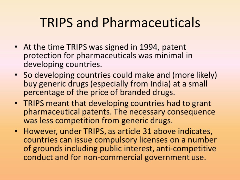 TRIPS and Pharmaceuticals