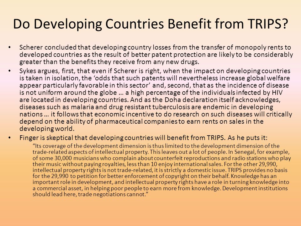 Do Developing Countries Benefit from TRIPS