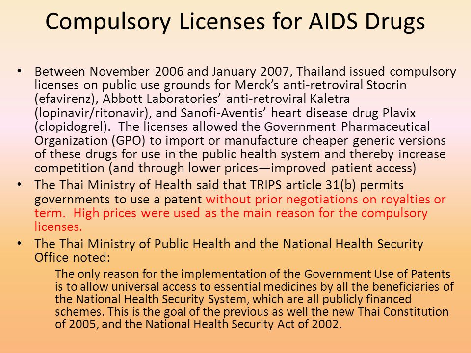 Compulsory Licenses for AIDS Drugs