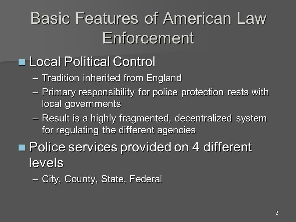 Basic Features of American Law Enforcement