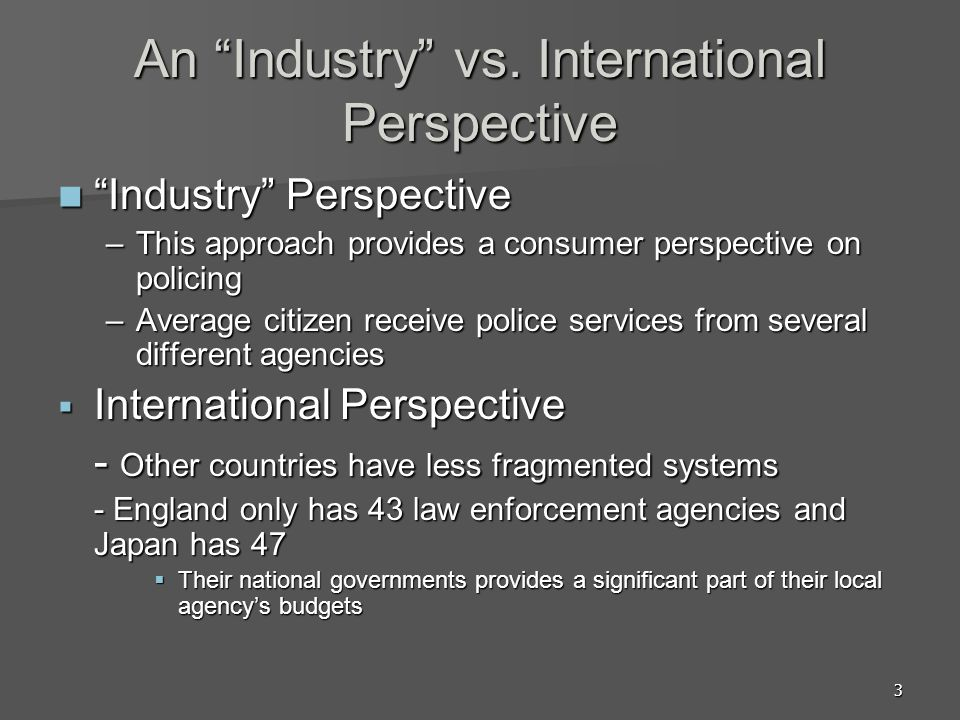 An Industry vs. International Perspective