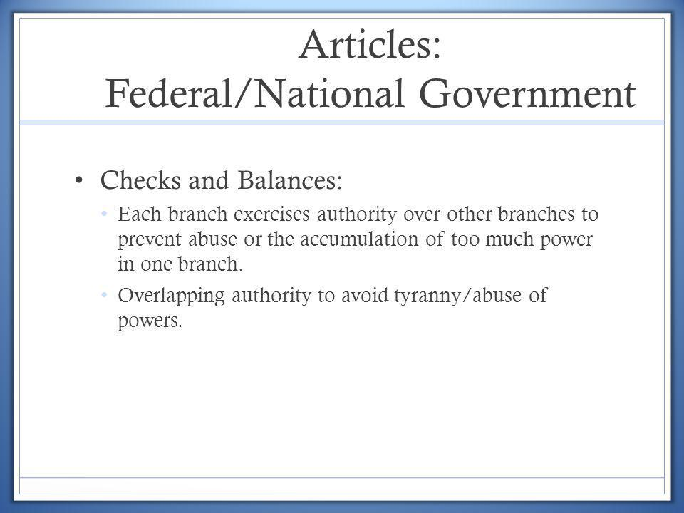 Articles: Federal/National Government