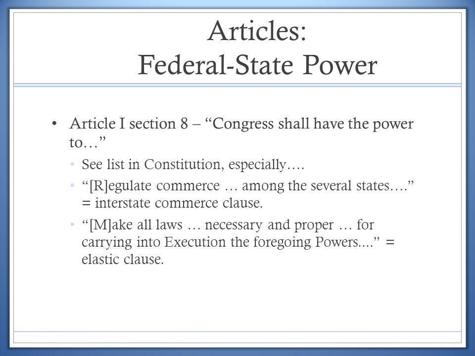 Articles: Federal-State Power