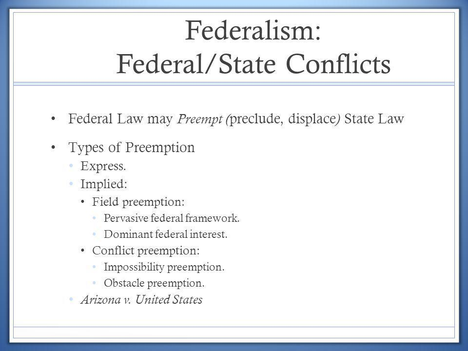 Federalism: Federal/State Conflicts