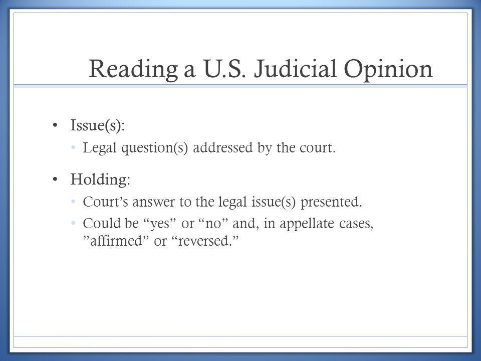 Reading a U.S. Judicial Opinion