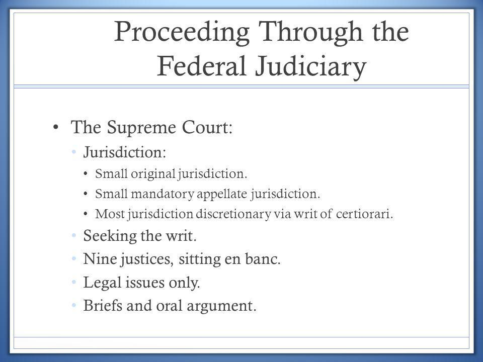 Proceeding Through the Federal Judiciary