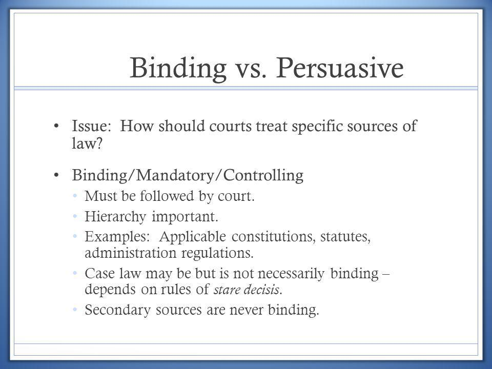 Binding vs. Persuasive Issue: How should courts treat specific sources of law Binding/Mandatory/Controlling.