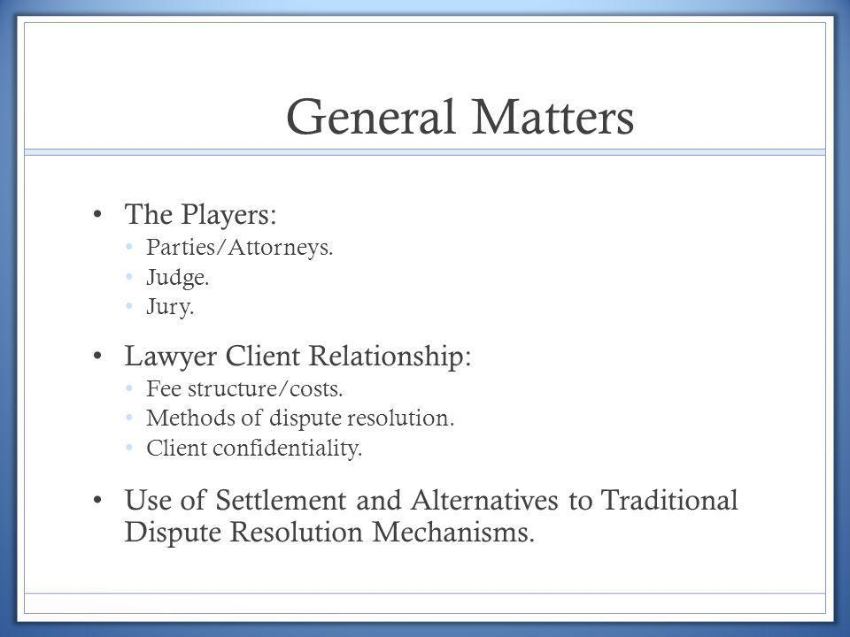 General Matters The Players: Lawyer Client Relationship: