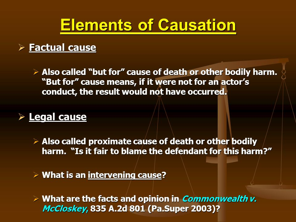 Elements of Causation Factual cause Legal cause