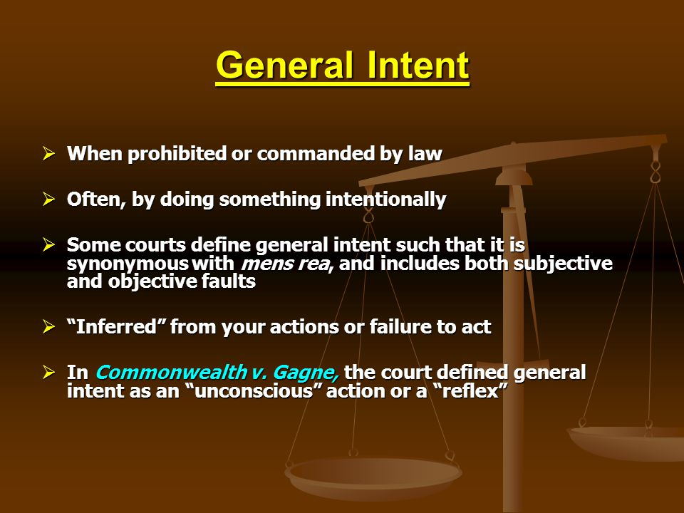 General Intent When prohibited or commanded by law