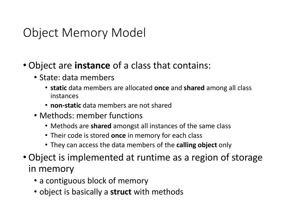 Inheritance, Polymorphism and the Object Memory Model - ppt
