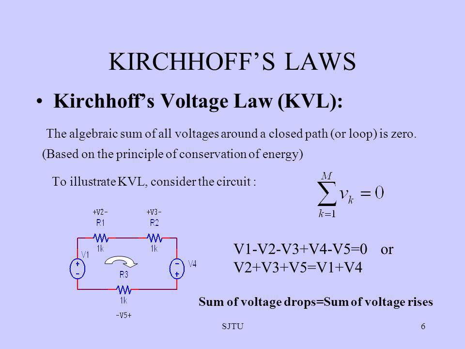 KIRCHHOFF'S LAWS Kirchhoff's Voltage Law (KVL):
