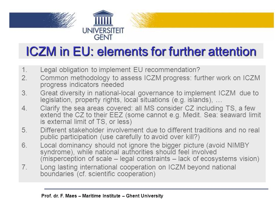 ICZM in EU: elements for further attention