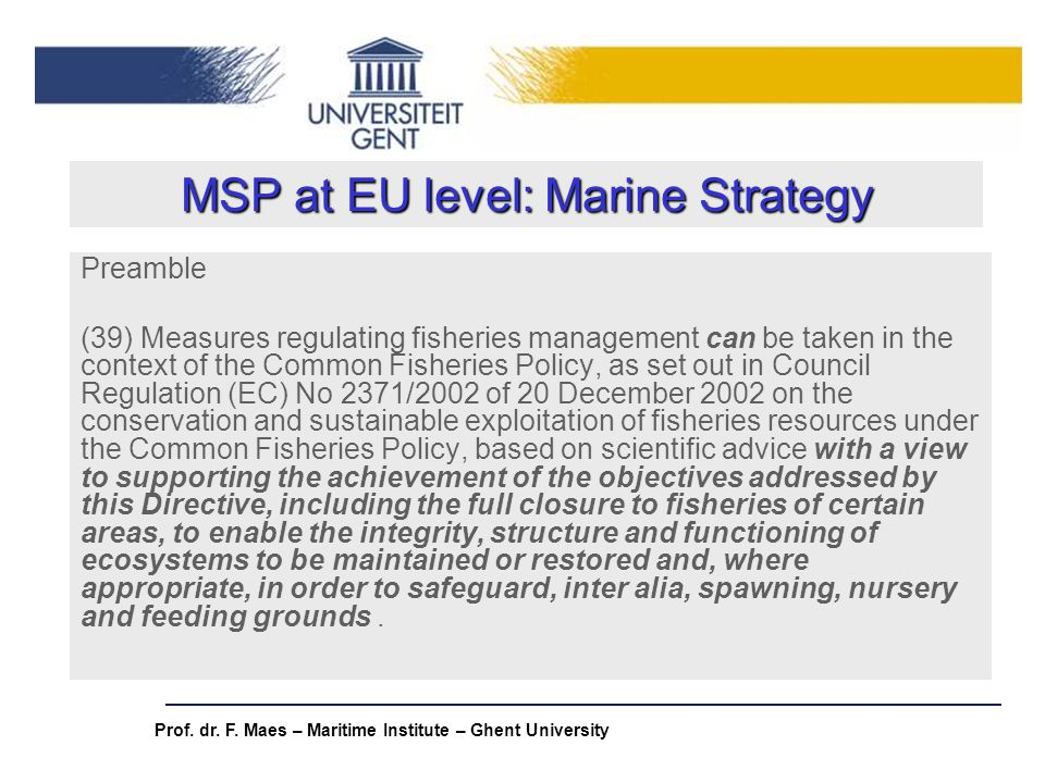 MSP at EU level: Marine Strategy