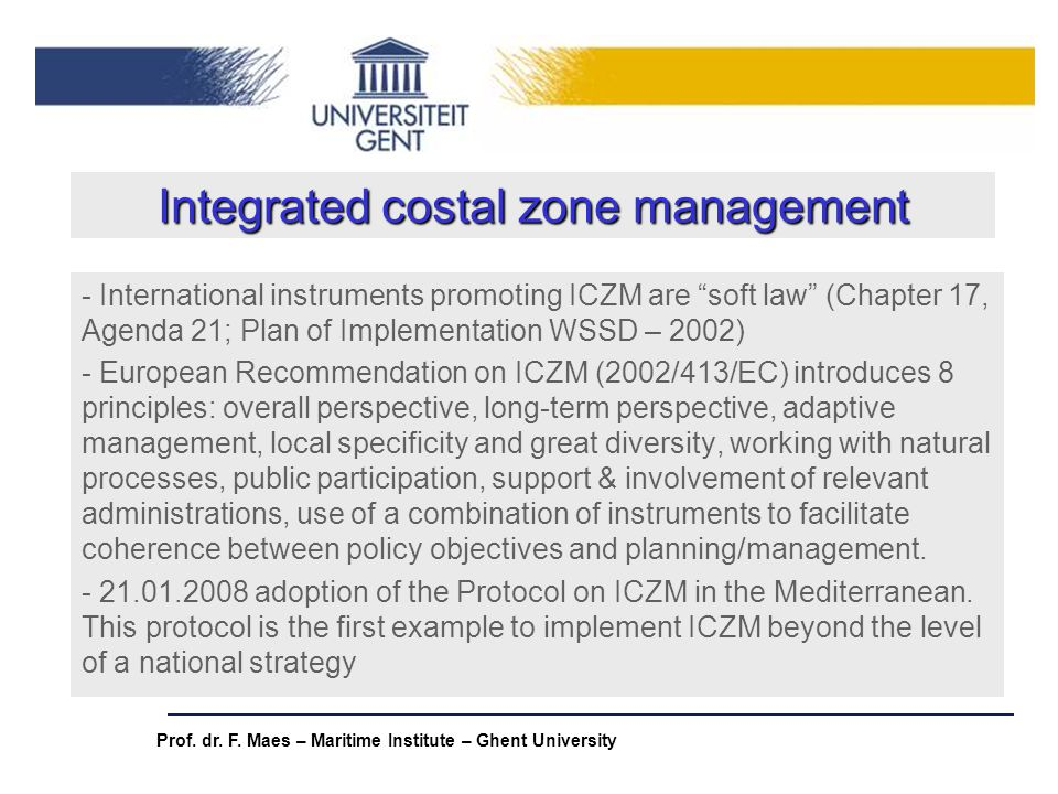 Integrated costal zone management