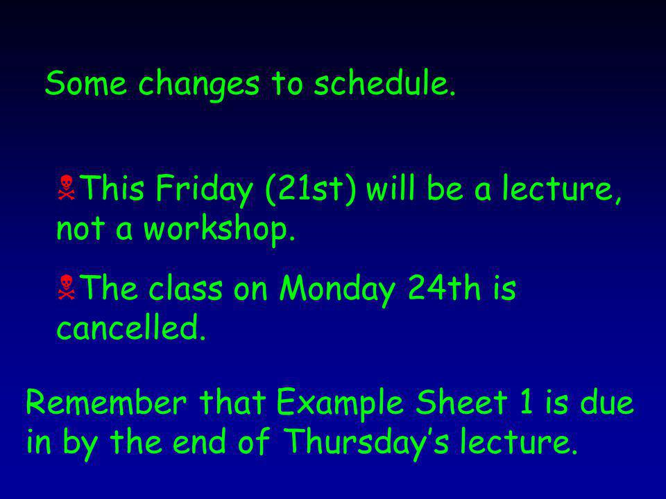 Some changes to schedule.