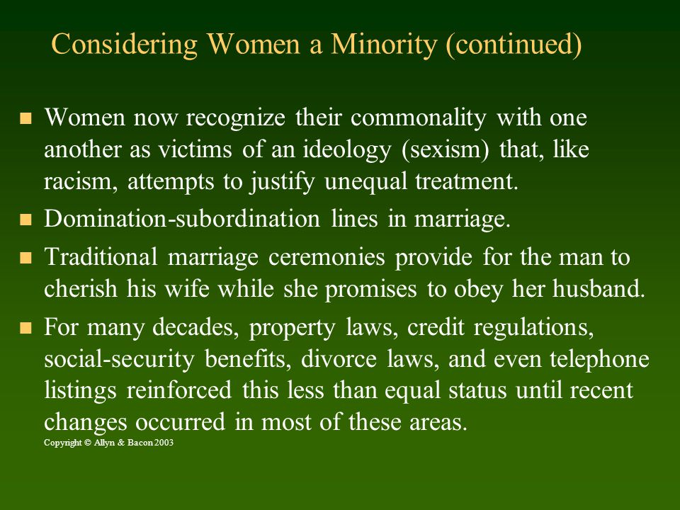 Considering Women a Minority (continued)
