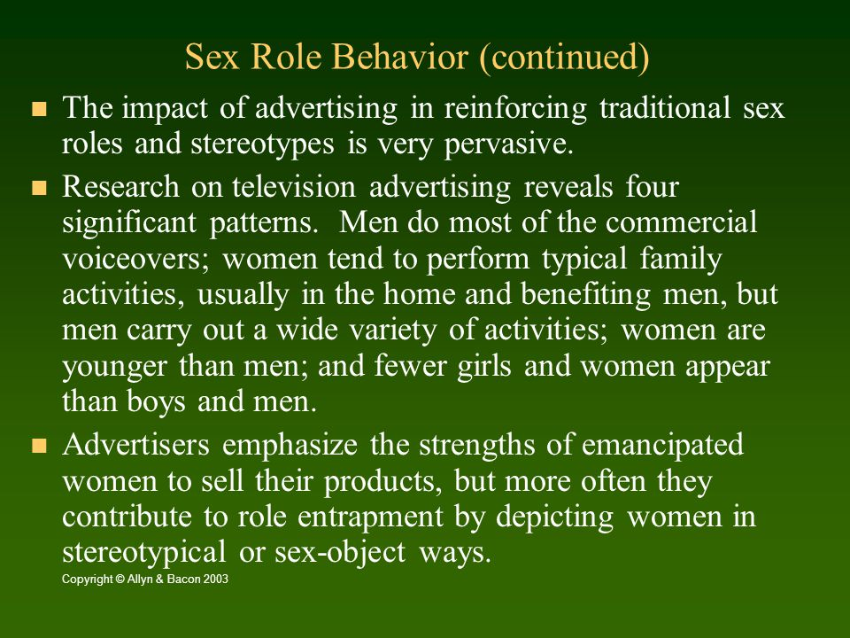 Sex Role Behavior (continued)