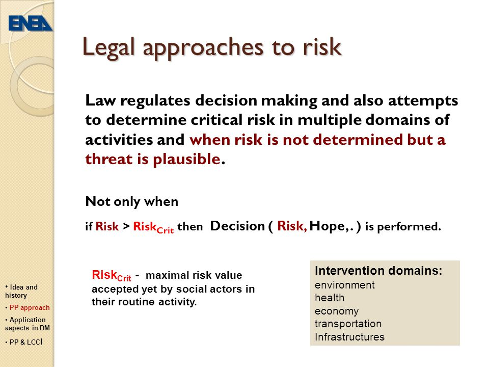 Legal approaches to risk
