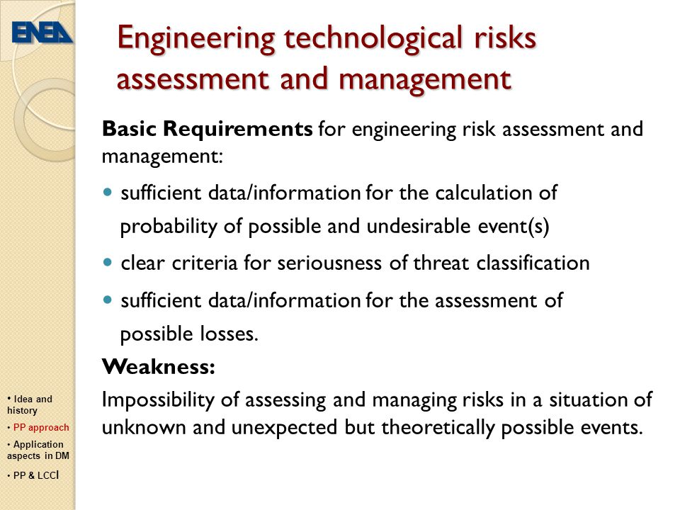 Engineering technological risks assessment and management