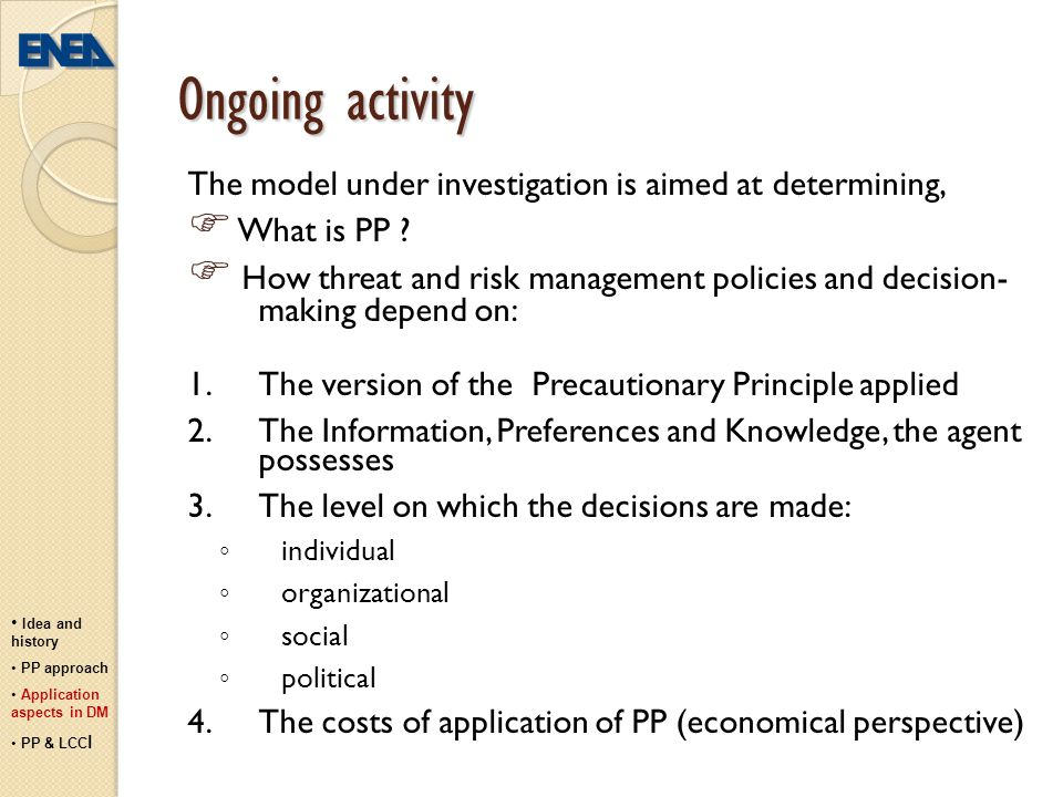 Ongoing activity  What is PP