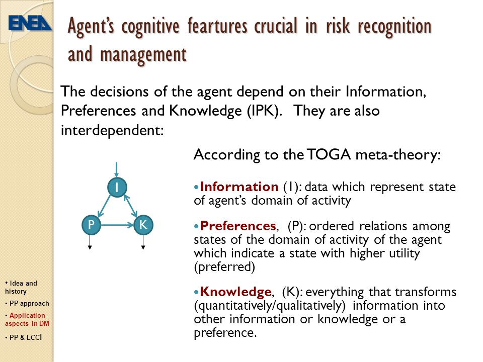 Agent's cognitive feartures crucial in risk recognition and management