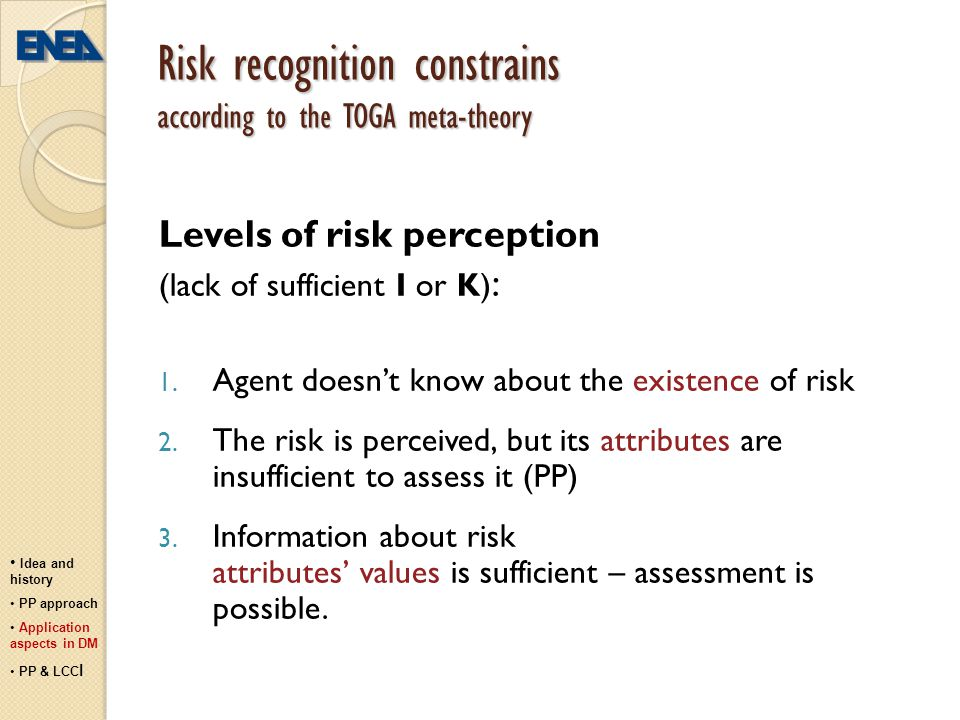 Risk recognition constrains according to the TOGA meta-theory