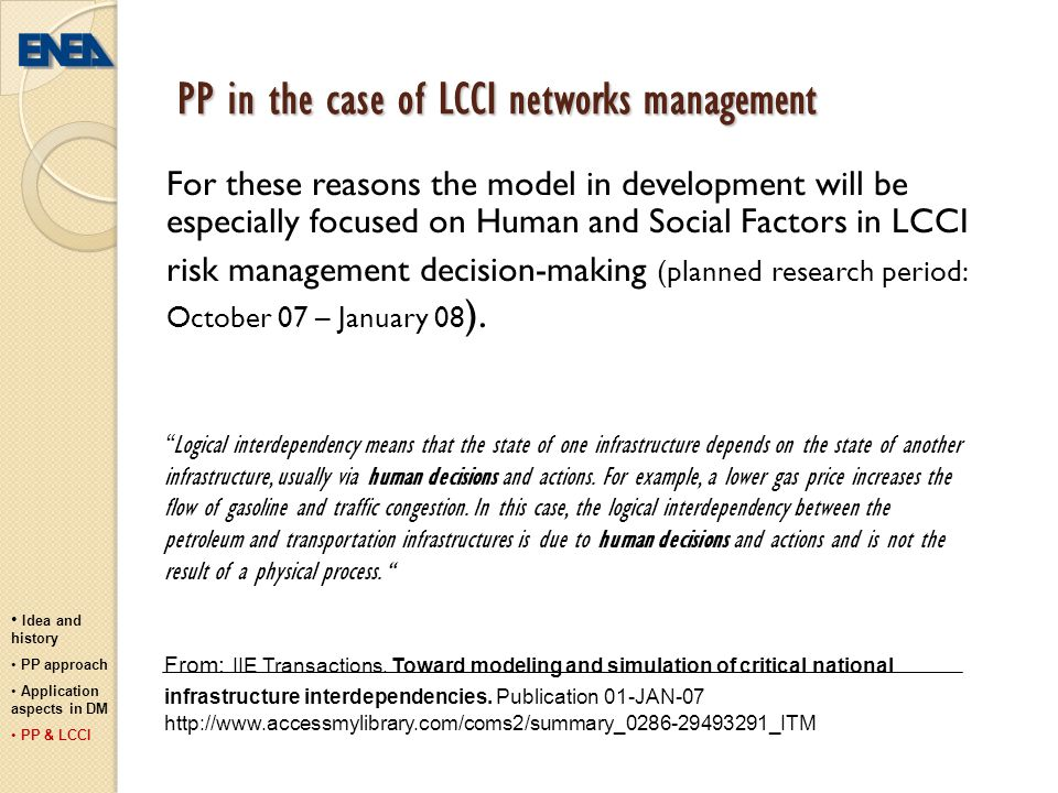 PP in the case of LCCI networks management