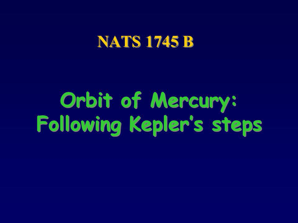 Orbit of Mercury: Following Kepler's steps