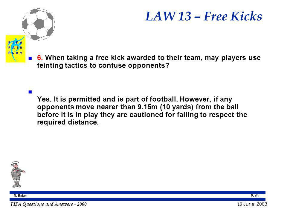 LAW 13 – Free Kicks 6. When taking a free kick awarded to their team, may players use feinting tactics to confuse opponents