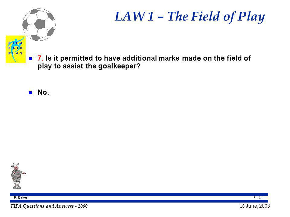 LAW 1 – The Field of Play 7. Is it permitted to have additional marks made on the field of play to assist the goalkeeper