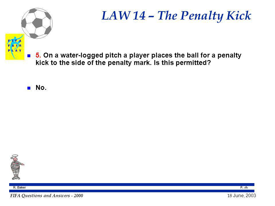 LAW 14 – The Penalty Kick 5. On a water-logged pitch a player places the ball for a penalty kick to the side of the penalty mark. Is this permitted