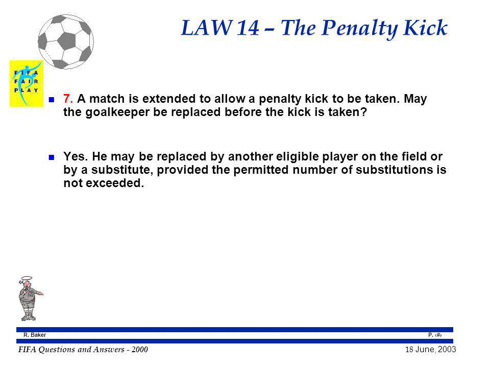 LAW 14 – The Penalty Kick 7. A match is extended to allow a penalty kick to be taken. May the goalkeeper be replaced before the kick is taken