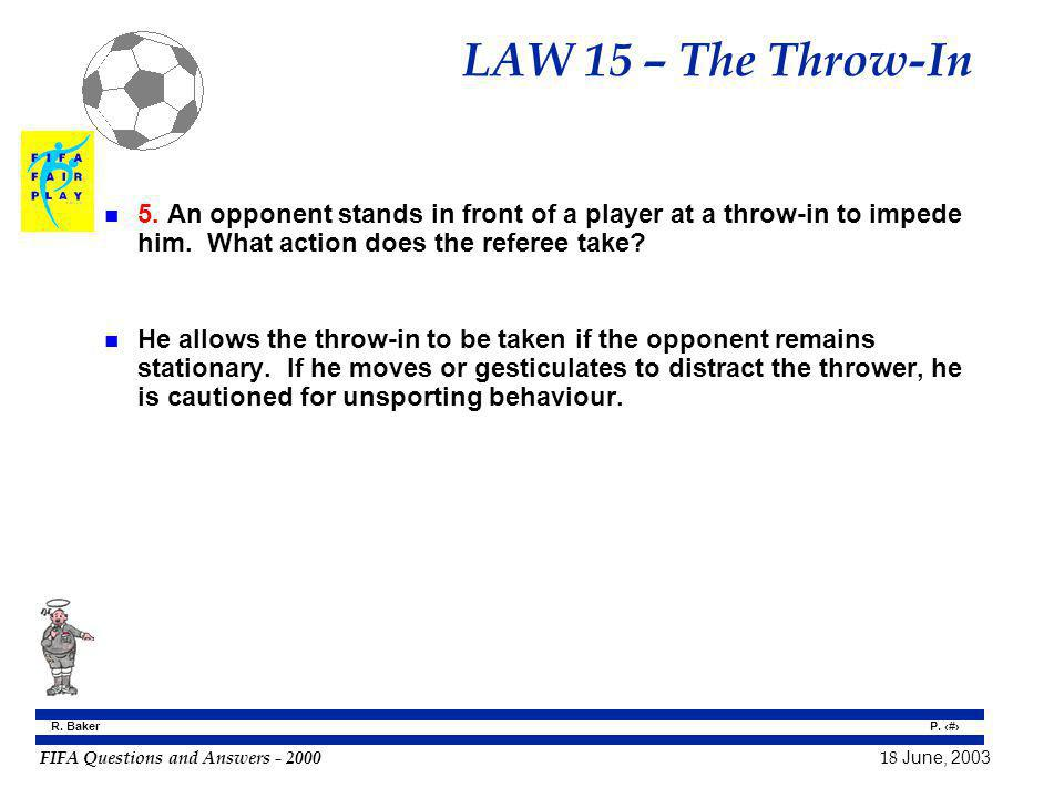 LAW 15 – The Throw-In 5. An opponent stands in front of a player at a throw-in to impede him. What action does the referee take